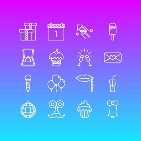 Pack modifiable de boisson gazeuse, Cupcake, gobelet et autres éléments. Illustration vectorielle de 16 icônes de la partie.