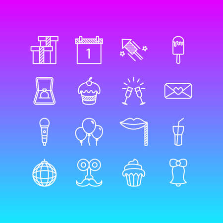 Editable Pack Of Soft Drink, Cupcake, Goblet And Other Elements.  Vector Illustration Of 16 Party Icons.