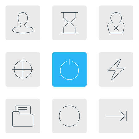 Vector Illustration Of 9 UI Icons. Editable Pack Of Banned Member, Hourglass, Man Member And Other Elements.