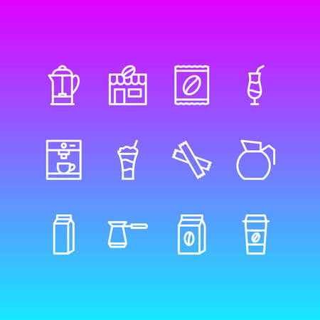 Vector Illustration Of 12 Java Icons. Editable Pack Of Mocha, Sweetener, Package And Other Elements.