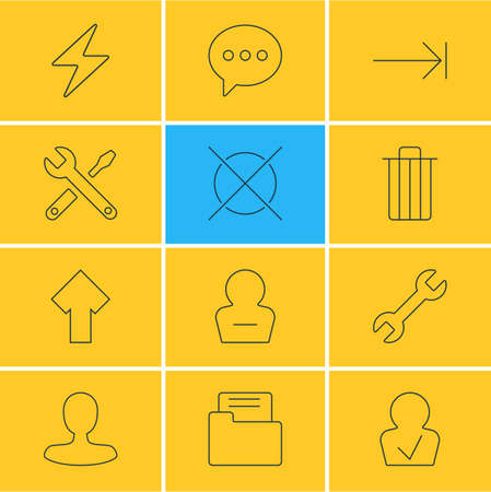 Vector Illustration Of 12 Interface Icons. Editable Pack Of Garbage, Tabulation Button, Bolt And Other Elements.