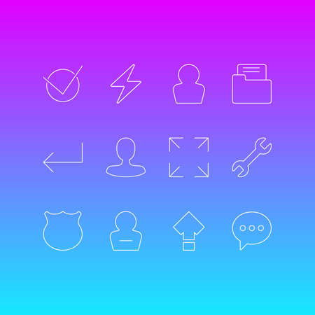 Vector Illustration Of 12 User Icons. Editable Pack Of Yes, Guard, Remove User And Other Elements. Illustration