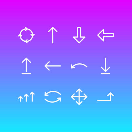 Vector Illustration Of 12 Direction Icons. Editable Pack Of Upwards, Submit, Undo And Other Elements.