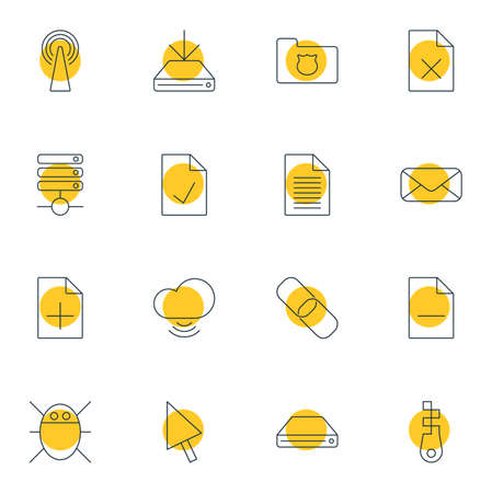 addition: Vector Illustration Of 16 Web Icons. Editable Pack Of Fastener, Pointer, Letter And Other Elements.