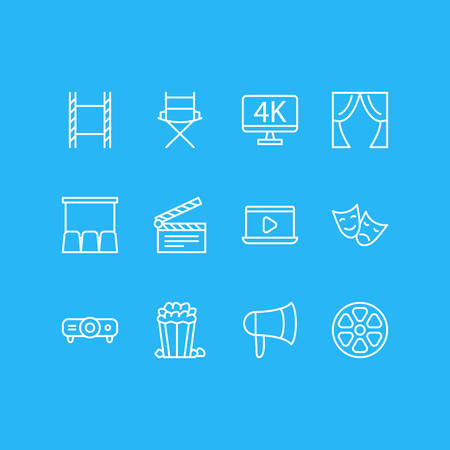 Vector Illustration Of 12 Movie Icons. Editable Pack Of Megaphone, Slideshow, Monitor And Other Elements.