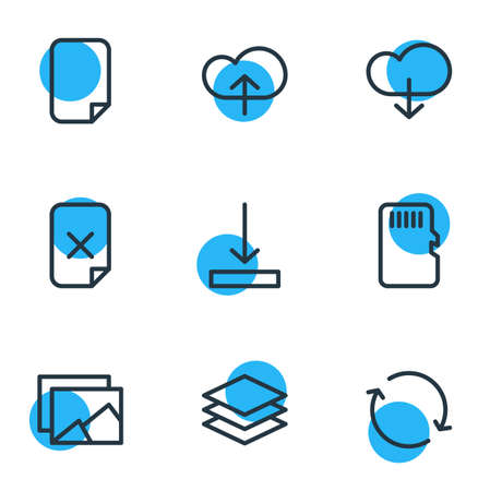 Editable Pack Of Layer, Memory, Upload And Other Elements.  Vector Illustration Of 9 Archive Icons. Illustration