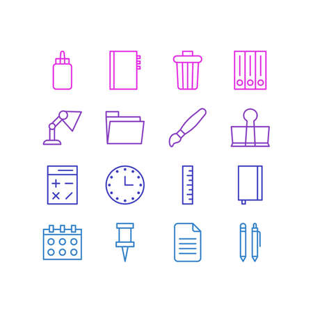 paint can: Editable Pack Of Pencil, Date, Watch And Other Elements.  Vector Illustration Of 16 Stationery Icons.