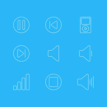 Editable Pack Of Speaker, Decrease Sound, Mp3 And Other Elements.  Vector Illustration Of 9 Music Icons.