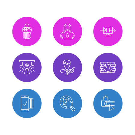 valid: Editable Pack Of Safe Storage, Key Collection, Copyright And Other Elements.  Vector Illustration Of 9 Privacy Icons. Illustration