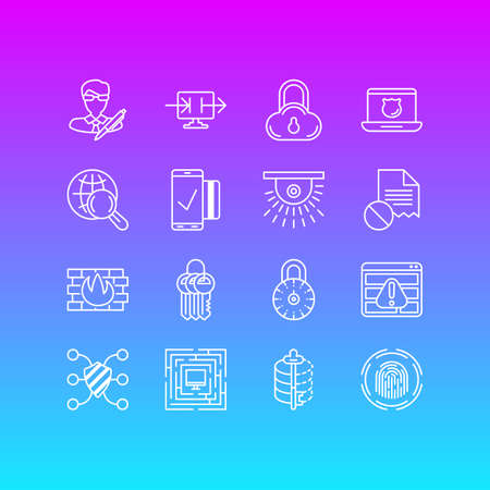 Editable Pack Of Data Error, Safeguard, Encoder And Other Elements.  Vector Illustration Of 16 Protection Icons. Illustration
