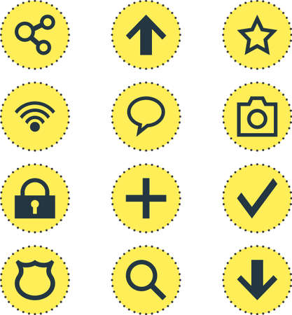 Vector Illustration Of 12 user Interface Icons Illustration
