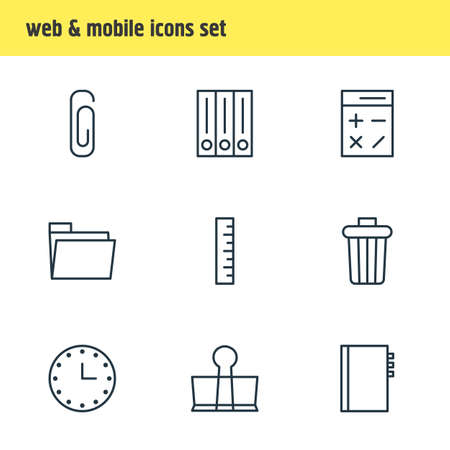 drawing pin: Vector Illustration Of 9 office related Icons Illustration