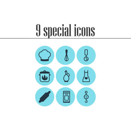 Vector Illustration Of 9 Kitchenware Icons