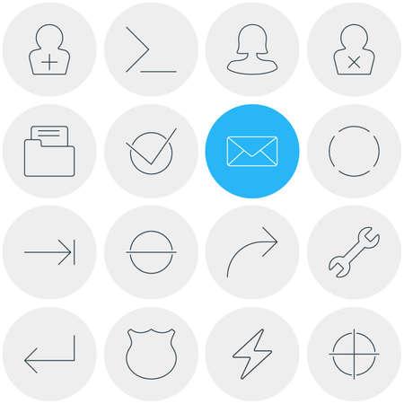 Vector Illustration Of 16 Interface Icons 일러스트
