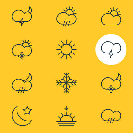 Vector Illustration Of 12 Atmosphere Icons