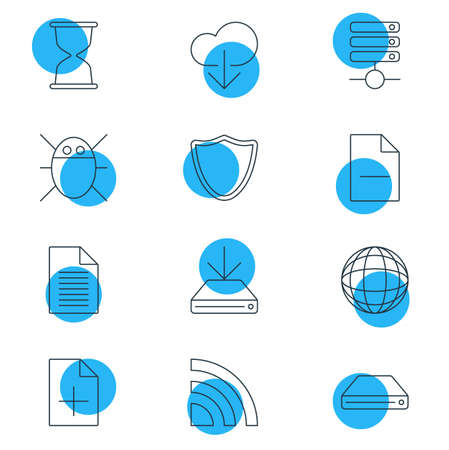 Vector Illustration Of 12 Network Icons 向量圖像