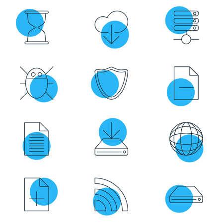 Vector Illustration Of 12 Network Icons Illusztráció