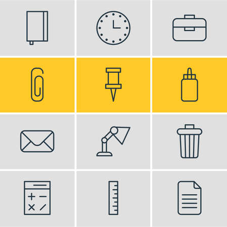 drawing pin: Vector Illustration Of 12 Office Icons