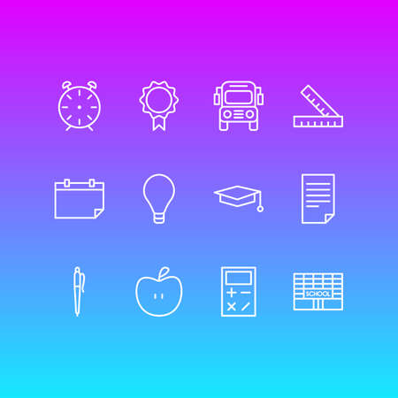Vector Illustration Of 12 school Icons