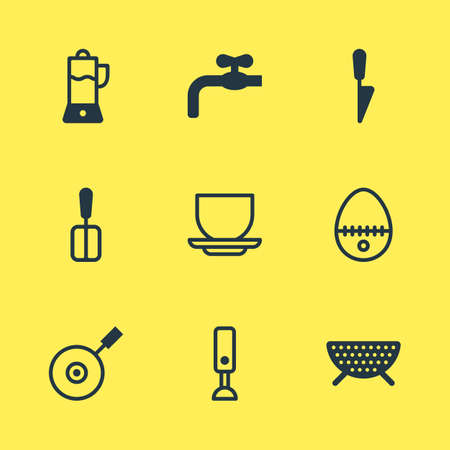 Vector Illustration Of 9 Cooking Icons