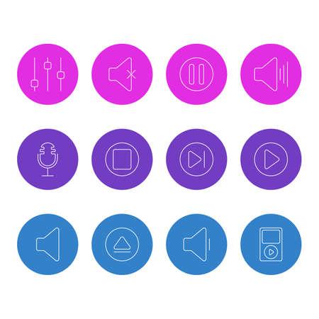 Vector Illustration Of 12 music Icons Illustration