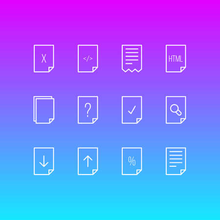 Vector Illustration Of 12 Document Icons