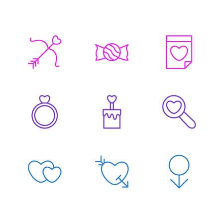pareja comiendo: Ilustración vectorial de 9 iconos de amor