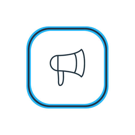 Vector Illustration Of Bullhorn Outline. Beautiful Movie Element Also Can Be Used As Megaphone Element.