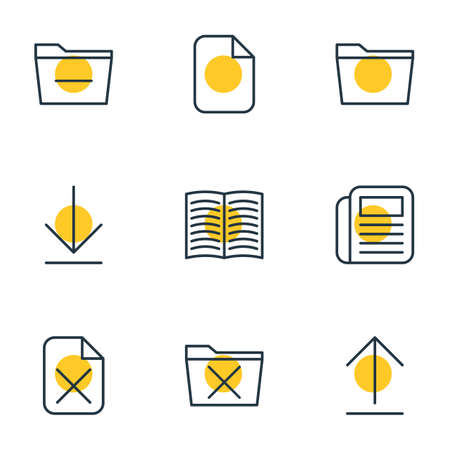 Vector Illustration Of 9 Bureau Icons. Editable Pack Of Template, Deleting Folder, Delete And Other Elements.