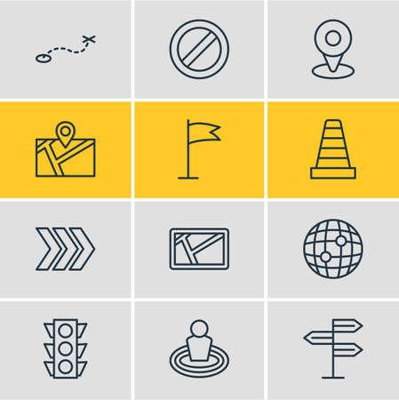 Vector illustratie van 12 navigatie pictogrammen. Bewerkbare verpakking stoplicht, routepost, locatie en andere elementen. Stockfoto - 85200075