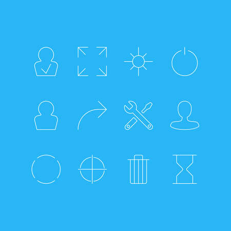Vector Illustration Of 12 UI Icons. Editable Pack Of Repeat, Maintenance, Positive And Other Elements.