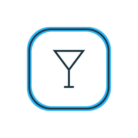 Vector Illustration Of Cocktail Outline. Beautiful Eating Element Also Can Be Used As Martini  Element. Illustration