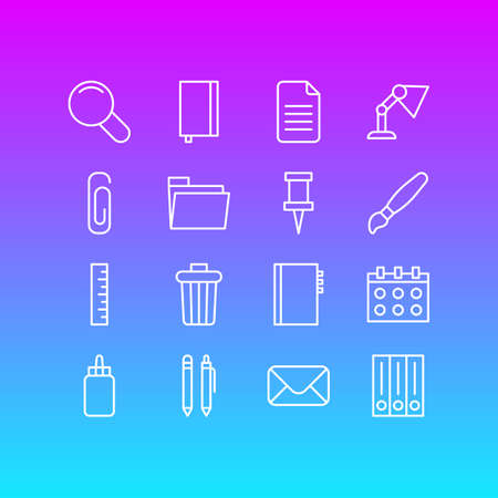 Vector Illustration Of 16 Instruments Icons. Editable Pack Of Folder, Copybook, Dossier And Other Elements.