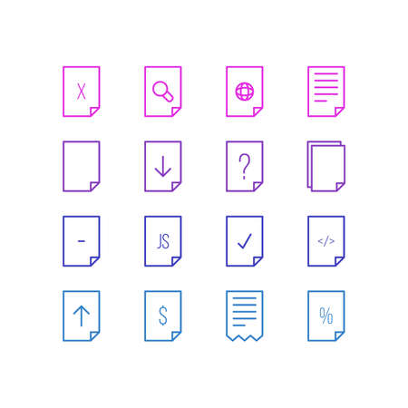 install: Vector Illustration Of 16 Page Icons. Editable Pack Of Search, Percent, Dollar And Other Elements.