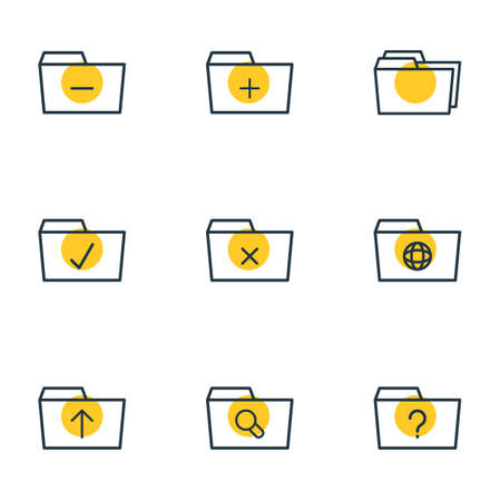 Vector Illustration Of 9 Dossier Icons. Editable Pack Of Question, Folders, Done And Other Elements.