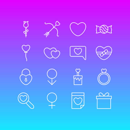 Vector Illustration Of 16 Amour Icons. Editable Pack Of Soul, Gift, Male And Other Elements.