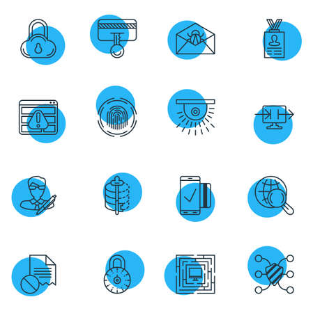 private security: Vector Illustration Of 16 Security Icons. Editable Pack Of Corrupted Mail, Safe Storage, Finger Identifier And Other Elements. Illustration