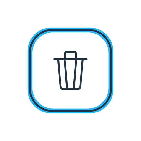 Vector Illustration Of Trash Can Outline. Beautiful Application Element Also Can Be Used As Garbage Container Element.
