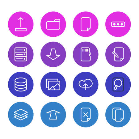 Vector Illustration Of 16 Memory Icons. Editable Pack Of Documents, Agreement, Layer And Other Elements. Illustration