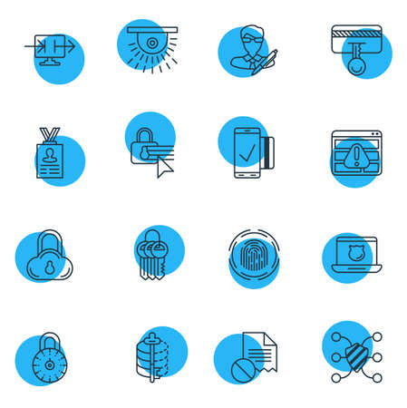 private security: Vector Illustration Of 16 Privacy Icons. Editable Pack Of Account Data, Easy Payment, Safeguard And Other Elements.
