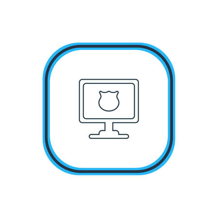 Vector Illustration Of Protected PC Outline. Beautiful Laptop Element Also Can Be Used As Antivirus Element.