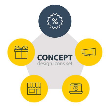 Illustration vectorielle de 5 icônes de vente en gros. Pack modifiable de négociation, ventes, éléments présents et autres. Banque d'images - 85199988