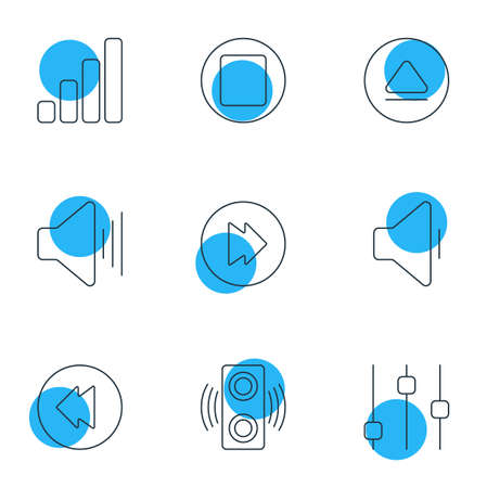 Vector Illustration Of 9 Music Icons. Editable Pack Of Reversing, Stabilizer, Amplifier And Other Elements. Illustration