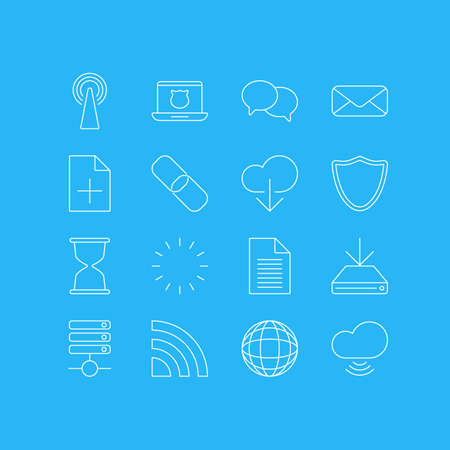 Vector Illustration Of 16 Internet Icons. Editable Pack Of Wireless Network, Information Load, Talking And Other Elements.