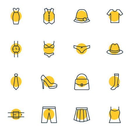 Vector Illustration Of 16 Garment Icons. Editable Pack Of Fedora, Handbag, Casual Elements.