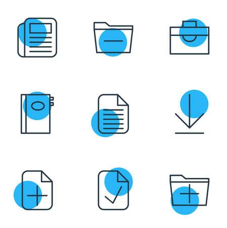 Vector Illustration Of 9 Bureau Icons. Editable Pack Of Plus, Deleting Folder, Portfolio And Other Elements. Иллюстрация