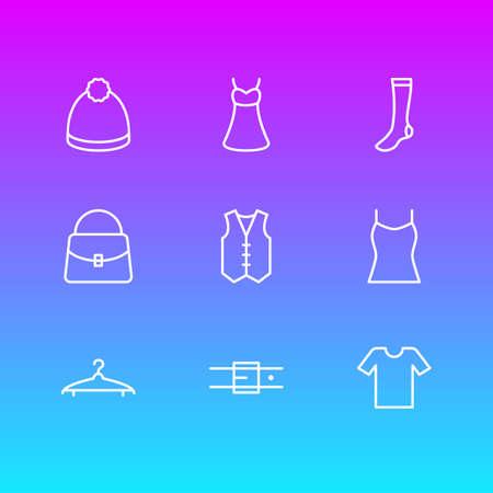 Vector Illustration Of 9 Garment Icons. Editable Pack Of Handbag, Hosiery, Cloakroom Elements.