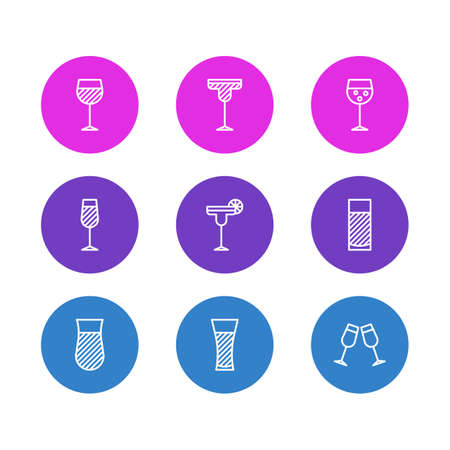 Vector Illustration Of 9 Beverage Icons. Editable Pack Of Aqua, Champagne, Celebrate And Other Elements.