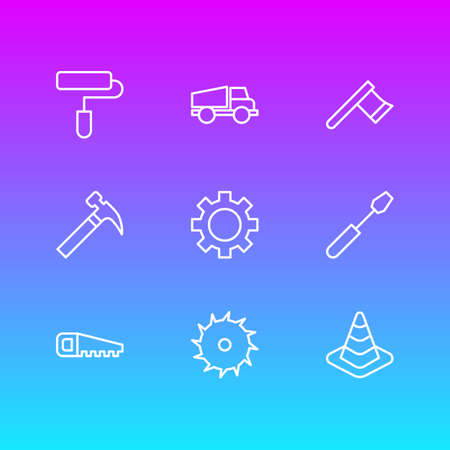 Vector Illustration Of 9 Construction Icons. Editable Pack Of Turn Screw, Roller, Circle Blade And Other Elements. Illustration