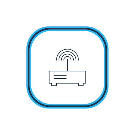 Vector Illustration Of Modem Outline. Beautiful Computer Element Also Can Be Used As Router Element.